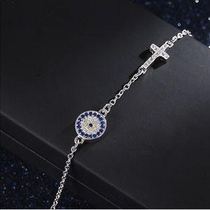 Jewelry - Sterling Silver .925 Cubic Zirconia Evil Eye Cross